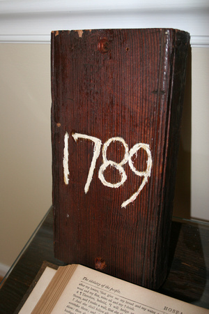 1789 scratched in wood